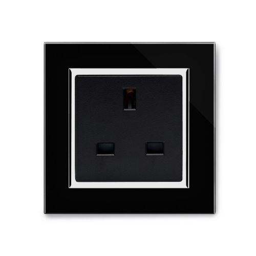 RetroTouch Single Plug Socket 13A Unswitched Black Glass CT 04040